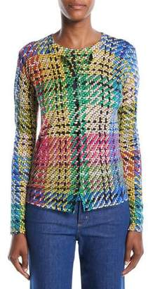 Escada Button-Front Multicolor Blanket-Weave Cardigan