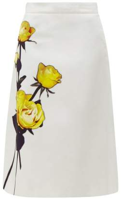 Prada Rose Print Cotton Poplin Midi Skirt - Womens - White Print