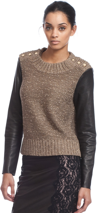 Tracy Reese Leather Sleeve Sweater
