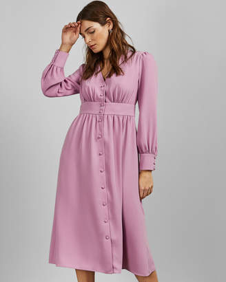 Ted Baker JESICAR Long sleeved deep V midi dress