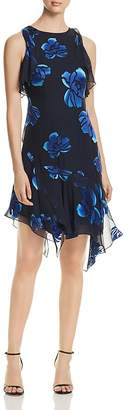 Elie Tahari Serenity Asymmetric Floral-Print Dress