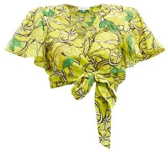Diane von Furstenberg Hailey Lemon Print Cotton Blend Wrap Top - Womens - Yellow Multi
