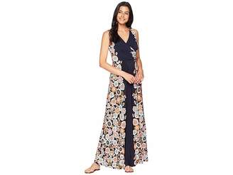 London Times V-Neck Side Shirring Maxi Dress Women's Dress