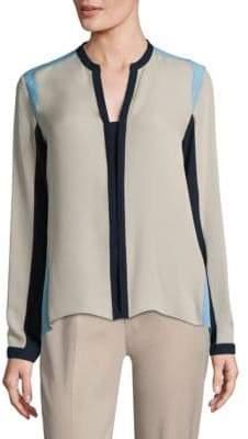 Elie Tahari Layne Colorblock Silk Blouse