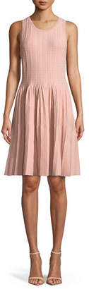 Milly Sleeveless Dot Dress w/ Pleated Skirt
