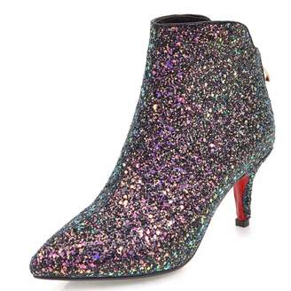 9137a6357ff5c Vitalo Womens Kitten Heel Sparkly Glitter Ankle Boots Zip Pointed Toe Party Booties  Shoes Size