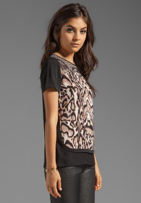 Diane von Furstenberg Becky Printed Top in Leopard Bark/Lace Flutter