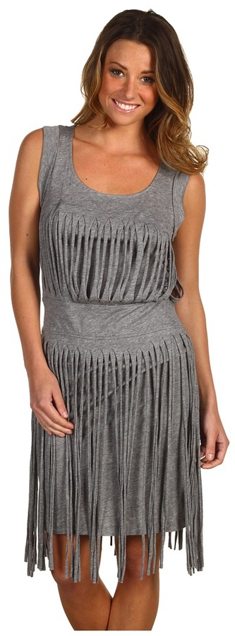 BCBGMAXAZRIA Cotton Modal Fringed Dress (Heather Grey) - Apparel