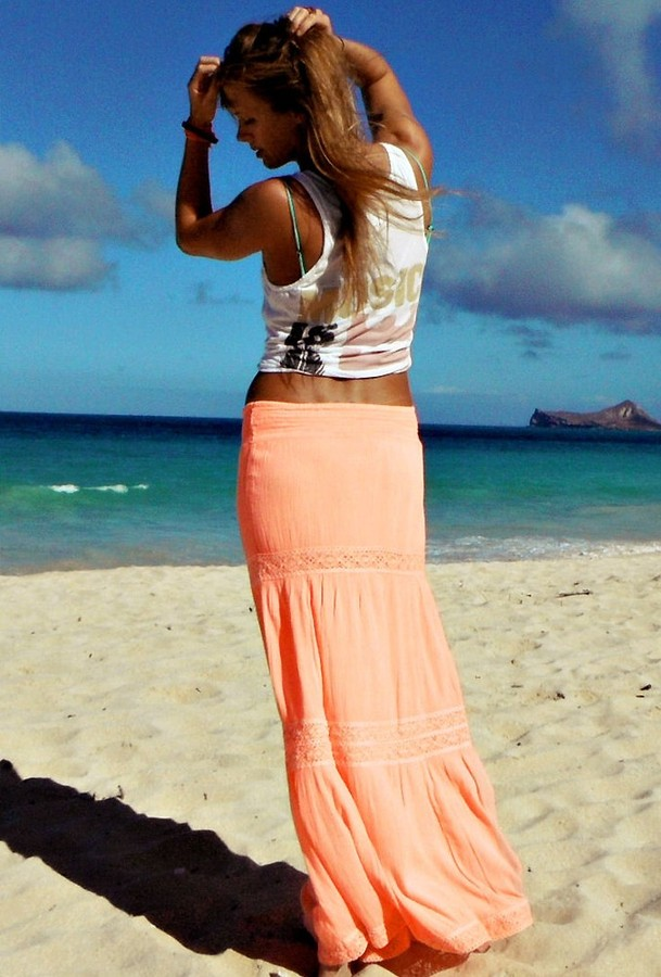 Soleil Blue Rosemary Maxi Skirt in Neon Coral