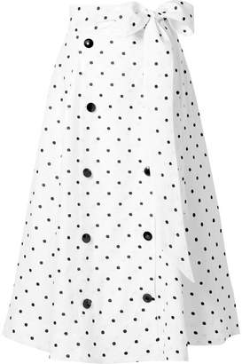 Lisa Marie Fernandez Diana Embroidered Polka-dot Linen Midi Skirt - White