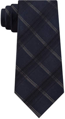 Calvin Klein Men Gold Dust Slim Metallic Plaid Tie