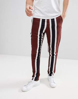Asos Design Tapered Pants With Block Stripe Detail