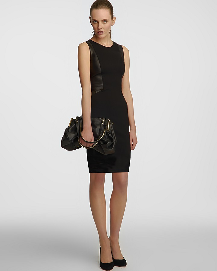 Halston Leather Contrast Panel Sheath Dress - Sleeveless