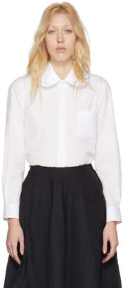 Comme des Garcons White Satin Round Collar Shirt
