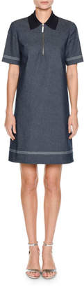 Piazza Sempione Short-Sleeve Knit-Collar A-Line Denim Dress