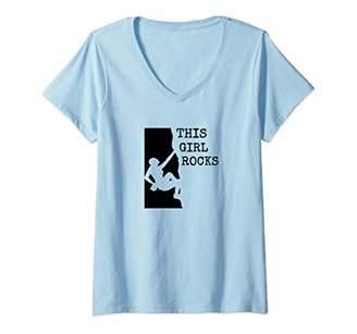 Womens This Girl Rocks Woman Rock Climber V-Neck T-Shirt