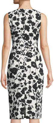 Michael Kors Floral Matelasse Cutout Sheath Dress