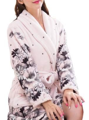 e193c8bc1b Femaroly Women Warm Bathrobe Ladies Autumn Winter Fleece Dressing Gown  Night Robes Housecoat M