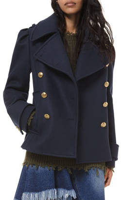 Michael Kors Wool Military Pea Coat