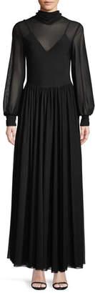 Diane von Furstenberg High-Neck Long-Sleeve Maxi Dress