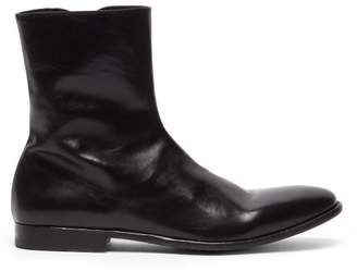 Alexander McQueen Washed Leather Ankle Boots - Mens - Black