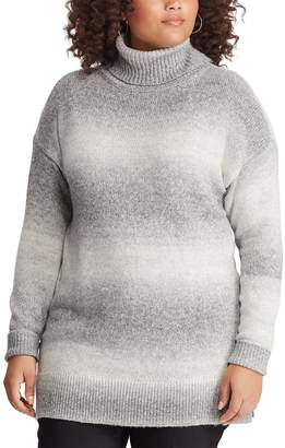 Chaps Plus Size Ombre Stripe Turtleneck Sweater