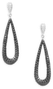 Effy 14K White Gold Diamond Pear Hoop Earrings