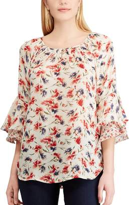 Chaps Women's Floral Ruffle-Sleeve Peasant Top