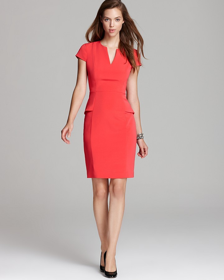 Elie Tahari Peplum Dress - Jasper Cap Sleeve