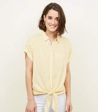 New Look Yellow Stripe Tie Front Shirt