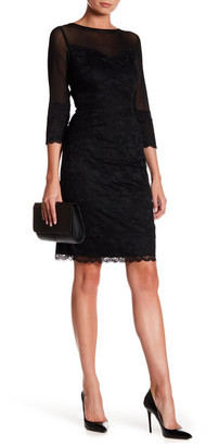 Marina 3/4 Length Sleeve Tiered Lace Sheath Dress $189 thestylecure.com