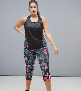 Only Play Plus Tropical Print Breathable Crop Leggings