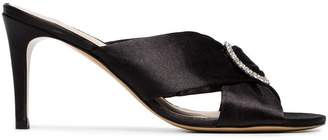Kalda black 85 crystal buckle satin mules