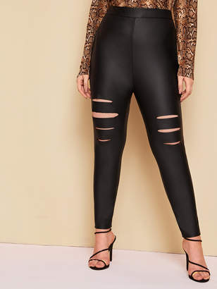 Shein Plus High Waist Ripped Front PU Leggings