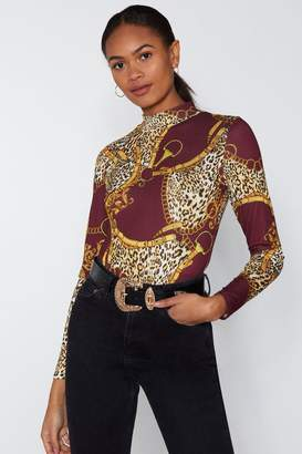 Nasty Gal You've Chain Your Tune Print Bodysuit