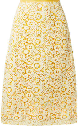 Guipure Lace Midi Skirt - Yellow
