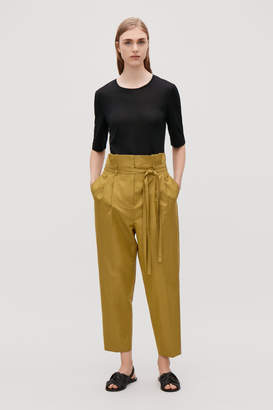 Cos BELTED COTTON TAPERED TROUSERS