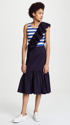 Sea Fitted Ruffle Mini Dress