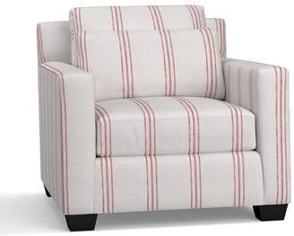Pottery Barn York Square Arm Deep Seat Upholstered Armchair - Print and Pattern