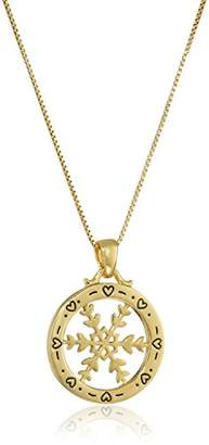 """Of A Kind Sterling Silver with Yellow Flashed """"You're One Snowflake Pendant Necklace"""