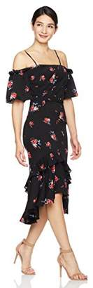 Social Graces Women's Floral Print Off Shoulder Layered Ruffle and Fishtail Dress 6