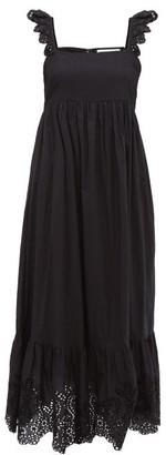 Apiece Apart Quince Broderie Anglaise Cotton Dress - Womens - Black