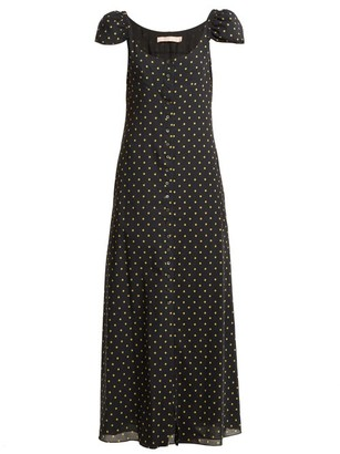 Brock Collection Polka Dot Print Button Down Silk Dress - Womens - Black Print