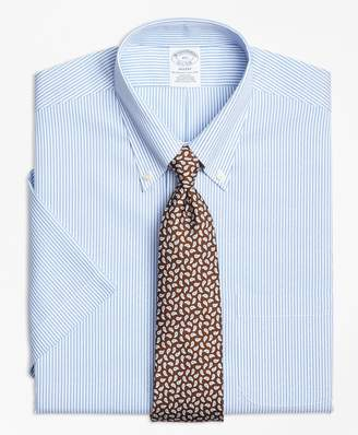 Brooks Brothers Regent Fitted Dress Shirt, Non-Iron Dobby Candy Stripe Short-Sleeve