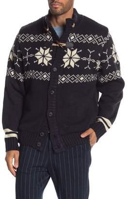 Weatherproof Faux Shearling Lined Snowflake Knit Cardigan