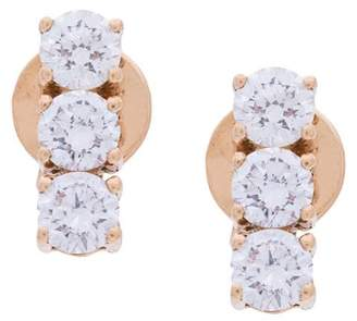 Anita Ko 18kt rose gold triple stud diamond earrings