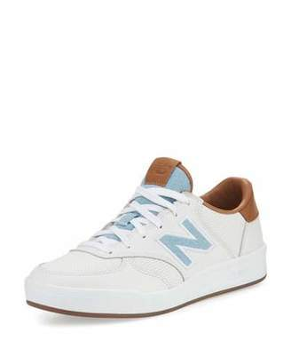 New Balance Leather Court Sneaker, White/Tan/Denim $195 thestylecure.com