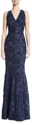 Carmen Marc Valvo Sleeveless Lace Mermaid Gown, Midnight $990 thestylecure.com