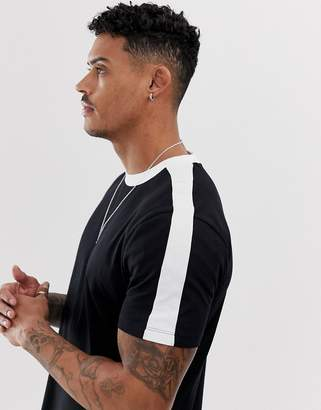 New Look ringer t-shirt with side stripe in black