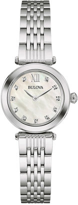 Bulova Women's Diamond Accent Stainless Steel Bracelet Watch 24mm 96P167 $299 thestylecure.com